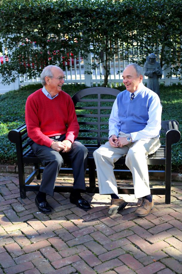 John M. Jordan Jr. (left), CEO of the Medical Society of South Carolina, talks with John Holloway.